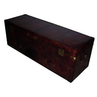 Dark Brown Genuine Leather Bedside Trunk/Chest