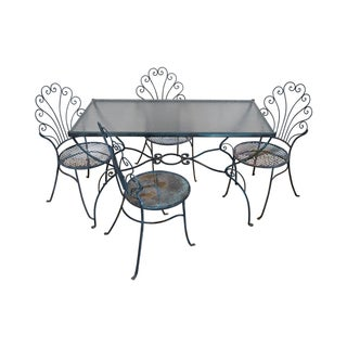 Salterini Wrought Iron Rococo Patio Dining Set