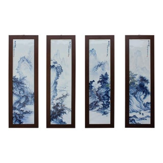 Chinese Blue White Porcelain Scenery Panel Set - S/4