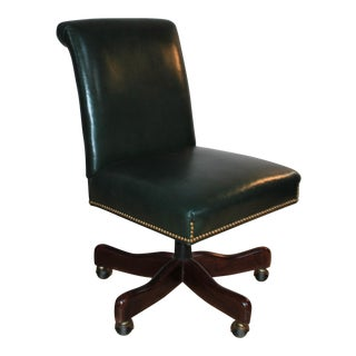 Armless Hunter Green Leather Swivel Chair