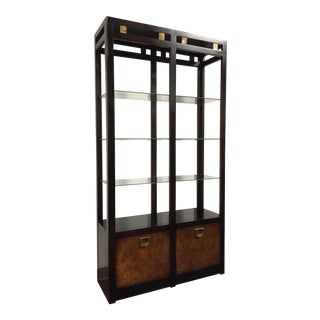 Asian Influenced Burl Wood Etagere