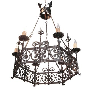 19th Century French Gothic Six-Light Black Iron Chandelier
