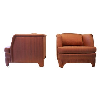 Pleated Hollywood Regency Lounge Chairs - Pair