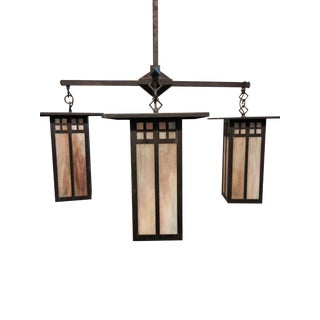 Arts & Crafts Lighting Set Chandelier & 2 Sconces