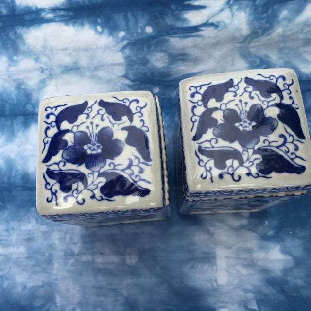 Image of Vintage Chinoiserie Square Ginger Jar - Pair