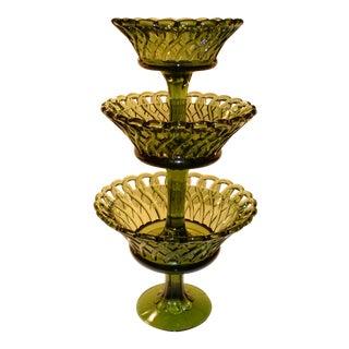Mid Century Woven Green Glass Pedestal Bowls - Set of 3