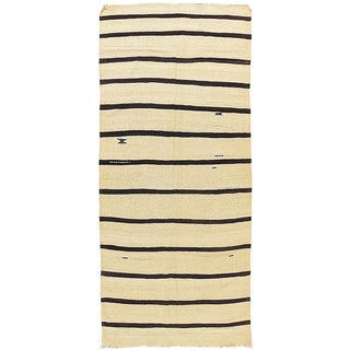 Ivory & Black Vintage Turkish Kilim - 4'7 X 11'