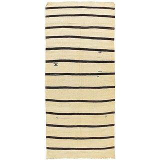 Ivory & Black Vintage Turkish Kilim - 4'7 X 11'