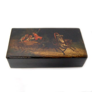 Antique Russian Hand-Painted Troika Lacquer Box