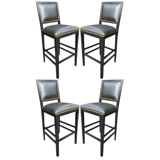 1980's Green Leather Bar Stools - Set of 4 - Image 1 of 4