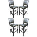 Image of 1980's Green Leather Bar Stools - Set of 4