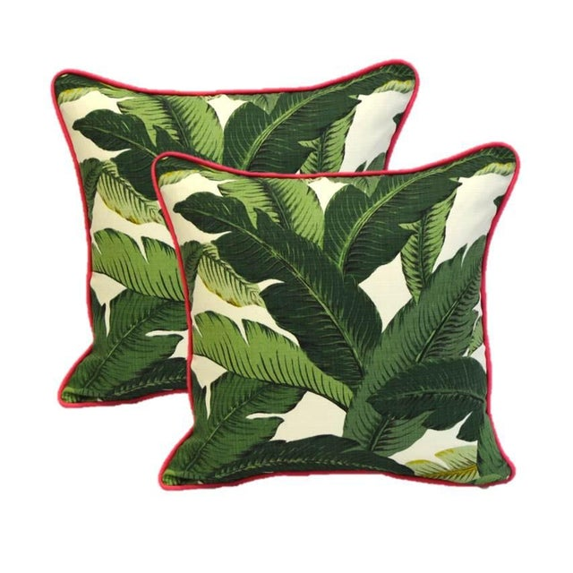 Image of Green Swaying Palms Pink Cording Pillows - Pair