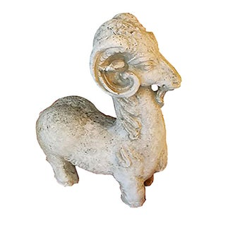Vintage Plaster Ram Figurine