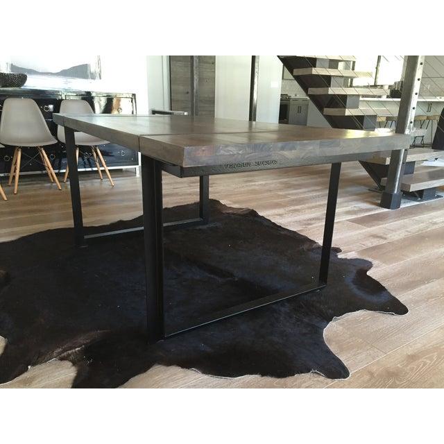 Modern Steel Base Wood Table Top - Image 3 of 5