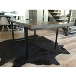 Image of Modern Steel Base Wood Table Top
