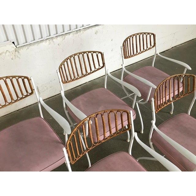 Mid-Century Modern Wrought Iron & Rattan Patio Dining Chairs - Set of 5 - Image 4 of 11