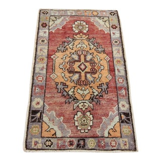 Vintage Turkish Oushak Tribal Rug- 1′8″ × 3′