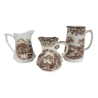 Brown English Transferware Pitchers - Set of 3