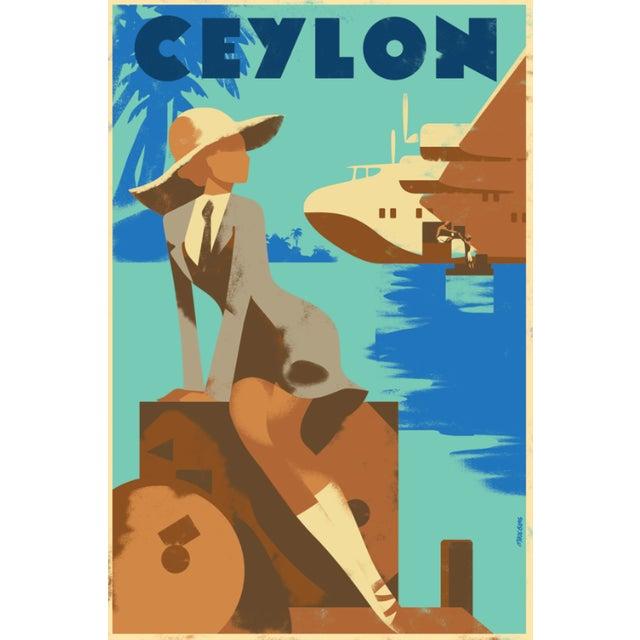 Retro Ceylon Travel Poster, Woman W/ Valise - Image 2 of 2