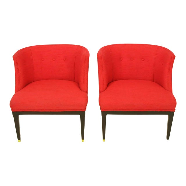 Pair of Button Tufted Red Wool and Dark Walnut Pull Up Wing Chairs - Image 1 of 10