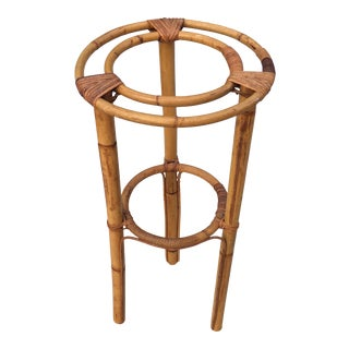Vintage Bohemian Bamboo 2 Tier Plant Stand