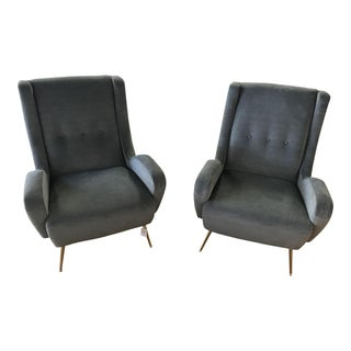 Modern Gray Club Chairs with Brass Stiletto Legs - A Pair