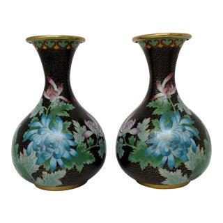 Cloisonne Vases, a Pair