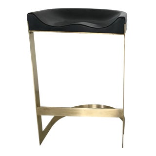 Walnut Brass Framed Saddle Stool