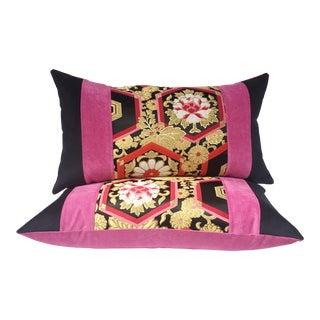 Floral Japanese Obi Pillows - A Pair