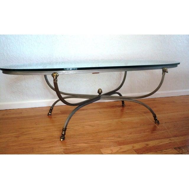 Image of Maison Jansen Brass Ram's Head Oval Coffee Table
