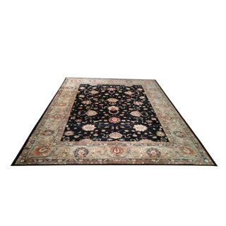 Traditional Handmade Knotted Black Earth Tone Colors Wool Rug - 10′ × 13′4″ - Size Cat. 10x14