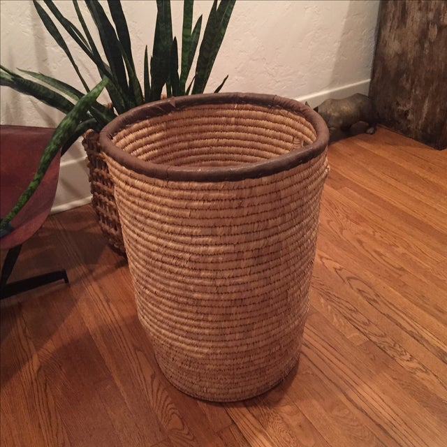 Large French Woven Basket With Leather Rim - Image 8 of 9