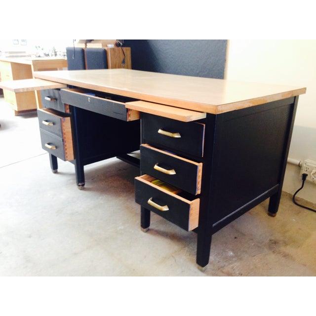 Vintage Professor's Desk, Refinished in Black - Image 4 of 10