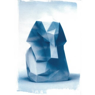 Egyptian Pharaoh Low-Poly Bust, Cyanotype Print on Watercolor Paper,
