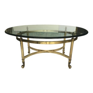 Vintage Pair of Brass and Glass Oval Side Tables in The Style of Maison Jansen