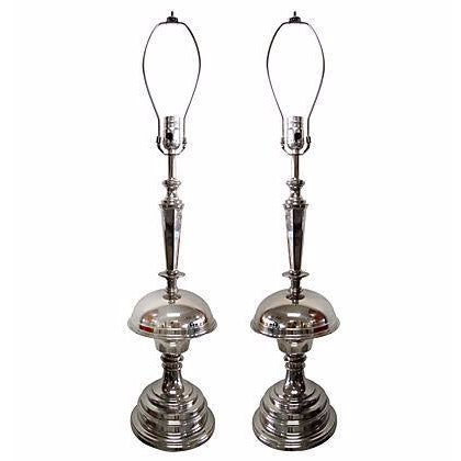 Art Deco Nickel Table Lamps - A Pair - Image 1 of 6