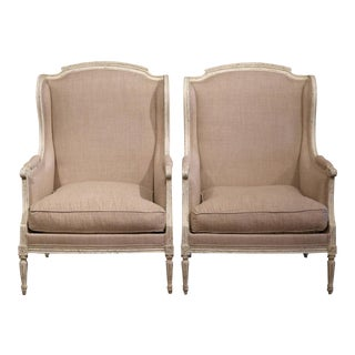 19th Century French Louis XVI Carved Painted Armchairs - A Pair
