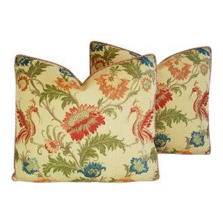 Custom Italian Coraggio Jacquard Feather/Down Pillows - a Pair