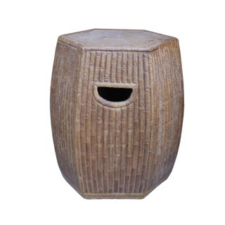 Chinese Hexagon Bamboo Theme Brown Ceramic Clay Garden Stool
