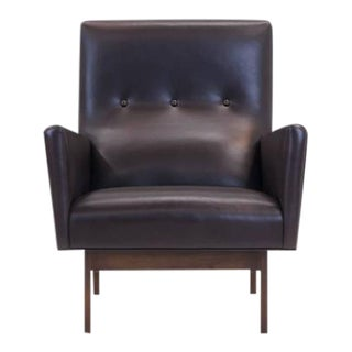 Jens Risom Style Custom-Made Leather Lounge Chair