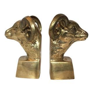 Brass Ram's Head Bookends - A Pair