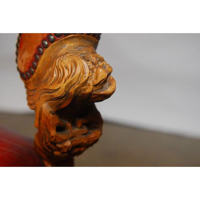 Norwegian Folk Art Leather Armchairs - Set of 4 - Image 10 of 10