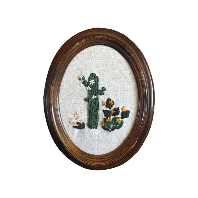 Framed Boho Chic Cactus Embroidery - Image 2 of 5