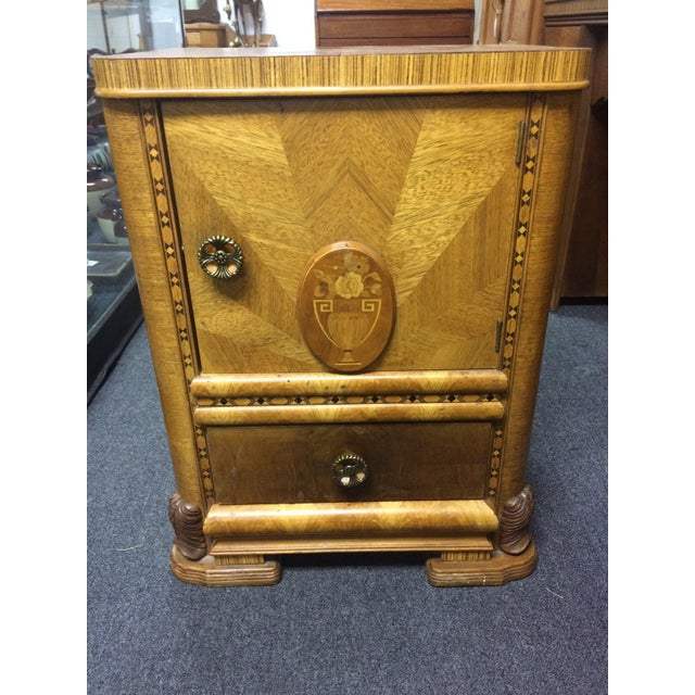 Antique Hand-Carved Inlay Nightstand - Image 2 of 6