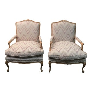 Ikat Bergere Style Armchairs - a Pair