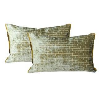 Green Velvet Pillows - A Pair