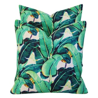 Banana Leaf Patterned Pillows - A Pair