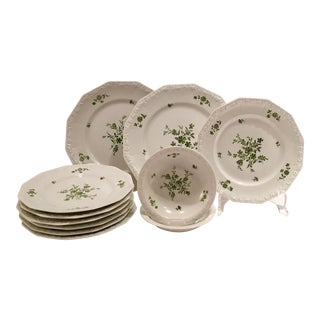 1940s Rosenthal Maria Green Patterned Dinnerware - Set of 11