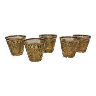 "22k Culver Green ""Toledo"" Glasses - Set of 5"
