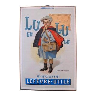 1905 Original French Advertising Carton, Biscuits Lu